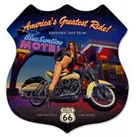 Fiftiesstore America's Greatest Ride Biker Girl Zwaar Metalen Bord 38 x 38 cm