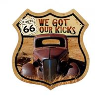 Fiftiesstore We Got Our Kicks Route 66 US Zwaar Metalen Bord 38 x 38 cm
