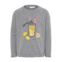 Name it Girl s Sweatshirt Venus grijs melange - Grijs - - Meisjes