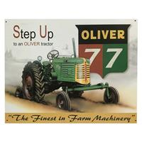 Metalen Poster Met Reliëf Step Up To An Oliver 77 Tractor