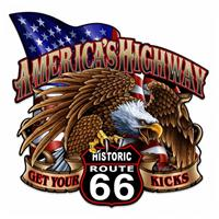 Fiftiesstore America's Highway Historic Route 66 Zwaar Metalen Bord 61 x 61 cm