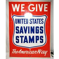 Fiftiesstore We Give United States Saving Stamps The American Way Metalen Bord - Origineel