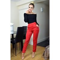 Exclusivepremium Tatianna Animal Print Trousers Red