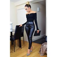 Exclusivepremium Chelsea PU Wet Look Trousers Black
