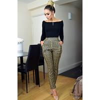Exclusivepremium Faria Greek Print Trousers Mustard