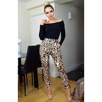 Exclusivepremium Kaira Leopard Print Trousers Brown