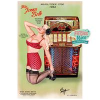 Fiftiesstore Wurlitzer 1700 Jukebox Pin-Up Miss Jenna Beth Zwaar Metalen Bord 44,5 x 29 cm