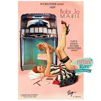 Fiftiesstore Wurlitzer 2000 Jukebox Pin-Up Bobi Jo Marie Zwaar Metalen Bord 44,5 x 29 cm