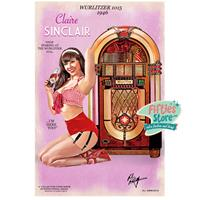 Fiftiesstore Wurlitzer 1015 Jukebox Pin-Up Claire Sinclair Zwaar Metalen Bord 44,5 x 29 cm