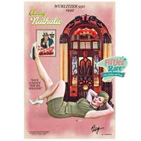 Fiftiesstore Wurlitzer 950 Jukebox Pin-Up Classy Nathalie Zwaar Metalen Bord 92 x 61 cm