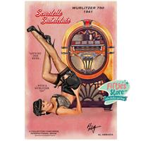Fiftiesstore Wurlitzer 750 Jukebox Pin-Up Scarlette Saintclair Zwaar Metalen Bord 44,5 x 29 cm