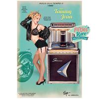 Fiftiesstore Rock-Ola Tempo II Jukebox Pin-Up Miss Tammy Jean Zwaar Metalen Bord 44,5 x 29 cm
