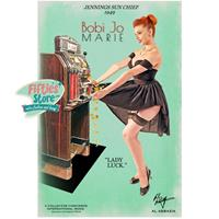 Fiftiesstore Jennings Sun Chief Slot Machine Pin-Up Bobi Jo Marie Zwaar Metalen Bord 44,5 x 29 cm