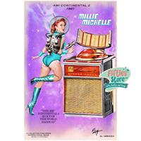 Fiftiesstore Ami Continental II Jukebox Pin-Up Millie Michelle Zwaar Metalen Bord 92 x 61 cm