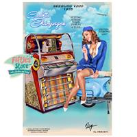 Fiftiesstore Seeburg V200 Jukebox Pin-Up Carlotta Champagne Zwaar Metalen Bord 44,5 x 29 cm