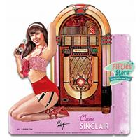 Fiftiesstore Wurlitzer 1015 Jukebox Pin-Up Claire Sinclair Zwaar Metalen Bord 43 x 46 cm 2-Zijdig Uithangbord