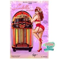 Fiftiesstore Wurlitzer 1100 Jukebox Pin-Up Ludella Hahn Zwaar Metalen Bord 92 x 61 cm