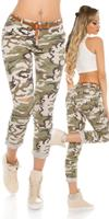 Cosmodacollection Trendy camouflage pants with cracks & belt Army