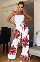 Exclusivepremium Tamsin Floral Pleated Trousers Ivory