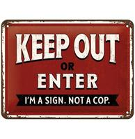 Fiftiesstore Keep Out Or Enter Metalen Bord 15 x 20 cm