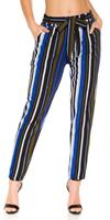 Cosmodacollection Trendy Bouclé cloth pants with belt Blue