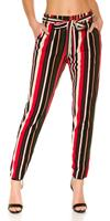 Cosmodacollection Trendy Bouclé cloth pants with belt Red