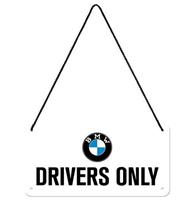 Fiftiesstore BMW Drivers Only Hangend Metalen Bord 10 x 20 cm