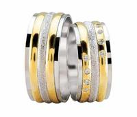Christian Trouwringen diamond coated bicolor geel goud