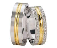 Christian Bicolor hoogglans trouwringen geel goud
