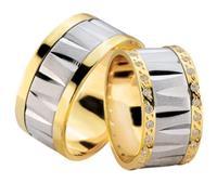 Christian Fantasie trouwringen met dubbele rij diamanten geel goud