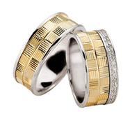 Christian Bicolor diamanten trouwringen geribbeld geel goud