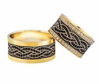 Christian Trouwringen met 2 rijen diamanten geel goud