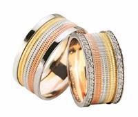 Christian Tricolor trouwringen 2 rijen diamanten geel goud