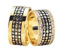 Christian Gouden trouwringen met 2 rijen diamanten geel goud