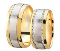 Christian Bicolor trouwringen mat en hoogglans met diamanten geel goud