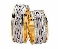 Christian Gevlochten trouwringen met diamanten geel goud