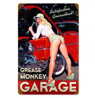 Fiftiesstore Grease Monkey Garage Pin-Up Zwaar Metalen Bord - Greg Hildebrandt