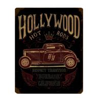 Fiftiesstore Hollywood Hot Rods Burbank California Metal Sign 28 x 35 cm