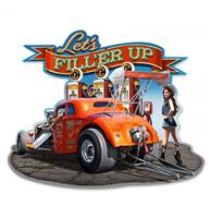 Fiftiesstore Let's Fill'er Up Hot Rod - Gas Station Zwaar Metalen Bord