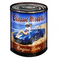 Fiftiesstore Classic Motors Engine Lube Pin-Up Zwaar Metalen Bord - Greg Hildebrandt