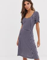 French Connection - Jurk met gingham-ruit - Wht/ utility gingham