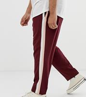 ASOS - PLUS - Nette skinny-fit broek in bordeauxrood met dubbele zijstreep - Bordeauxrood
