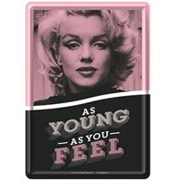 fiftiesstore Marilyn Monroe As Young As You Feel Metalen Postkaart