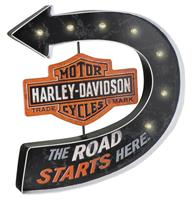 fiftiesstore Harley-Davidson® Road Starts Here Bar & Shield Marquee Metalen Pub Bord Met LED-verlichting
