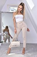 exclusivepremium Nancy Belted Cigarette Trousers Stone