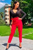 exclusivepremium Demi Belted Cigarette Trousers Red