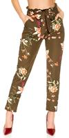 cosmodacollection Trendy treggings in a floral print with a loop Khaki