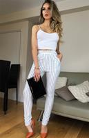 exclusivepremium Louise Striped Trousers Ivory
