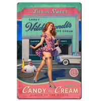 fiftiesstore Candy And Cream Pin-Up Girl Zwaar Metalen Bord - 44 x 29 cm