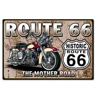 fiftiesstore Route 66 The Mother Road Zwaar Metalen Bord - 44 x 29 cm